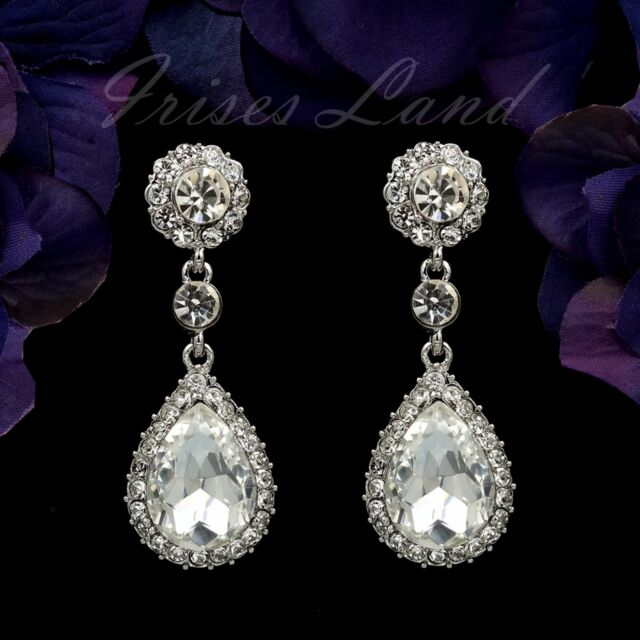 Cute Rhodium Plated Clear Crystal Rhinestone Teardrop Bridal Chandelier Earrings