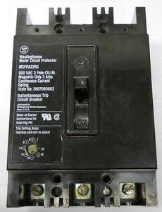 WESTINGHOUSE-MOTOR-CIRCUIT-PROTECTOR-MCP0322RC-600VAC-3-POLE-2607D80G02