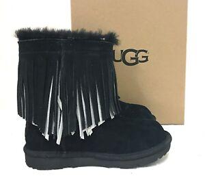 e182ab3c244 Details about NEW KIDS GIRLS BLACK 13 UGG CLASSIC SHORT II FRINGE SHEEPSKIN  SUEDE ANKLE BOOTS