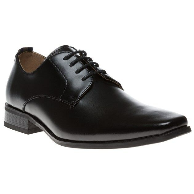 New Mens Peter Werth Black Chisel Derby Leather Shoes Lace Up