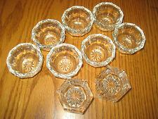 9 Vintage Open Salt Dips Clear Glass, 7 Star Pinwheel 10-sided Design, 2 Hexagon