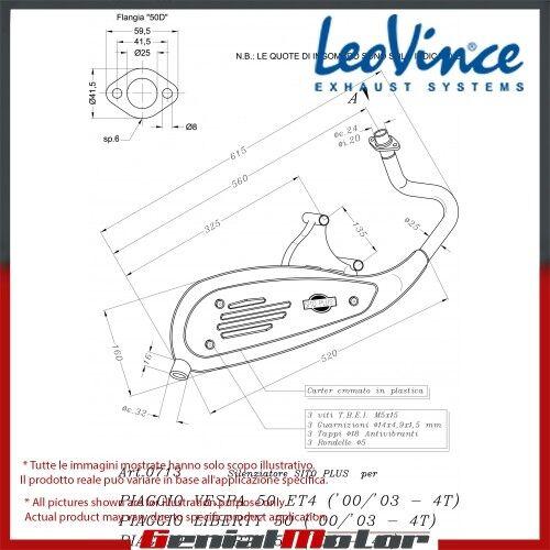 VESPA ET4 4 stroke  LEOVINCE KOMPLETT AUSPUFFANLAGE SITOPLUS STAHL 0713