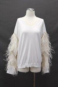 9db3d299b5a NWT  3345 Brunello Cucinelli VNeck Knit W Ostrich Feathers + Silk ...