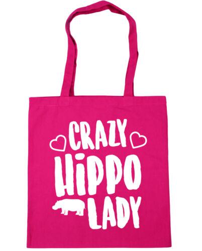 Crazy hippo lady Tote Shopping Gym Beach Bag 42cm x38cm 10 litres