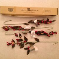 4 Homco Home Interiors Red Berry Holiday Floral Stems Greenery Christmas