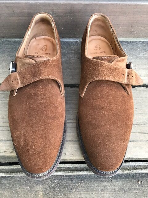 Alfrojo Splata Monje para Hombre Gamuza marrón Correa Zapatos Talla 8.5 US 7.5 UK 41.5 EU