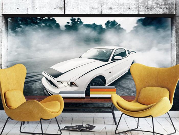 3D Cool Sports Car 3228 Wallpaper Decal Dercor Home Kids Nursery Mural Home