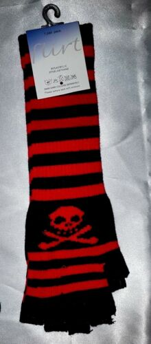 Ladies LONG ARM Finger-less One Size Magic Striped SKULL gloves,Gothic//Punk BNWT