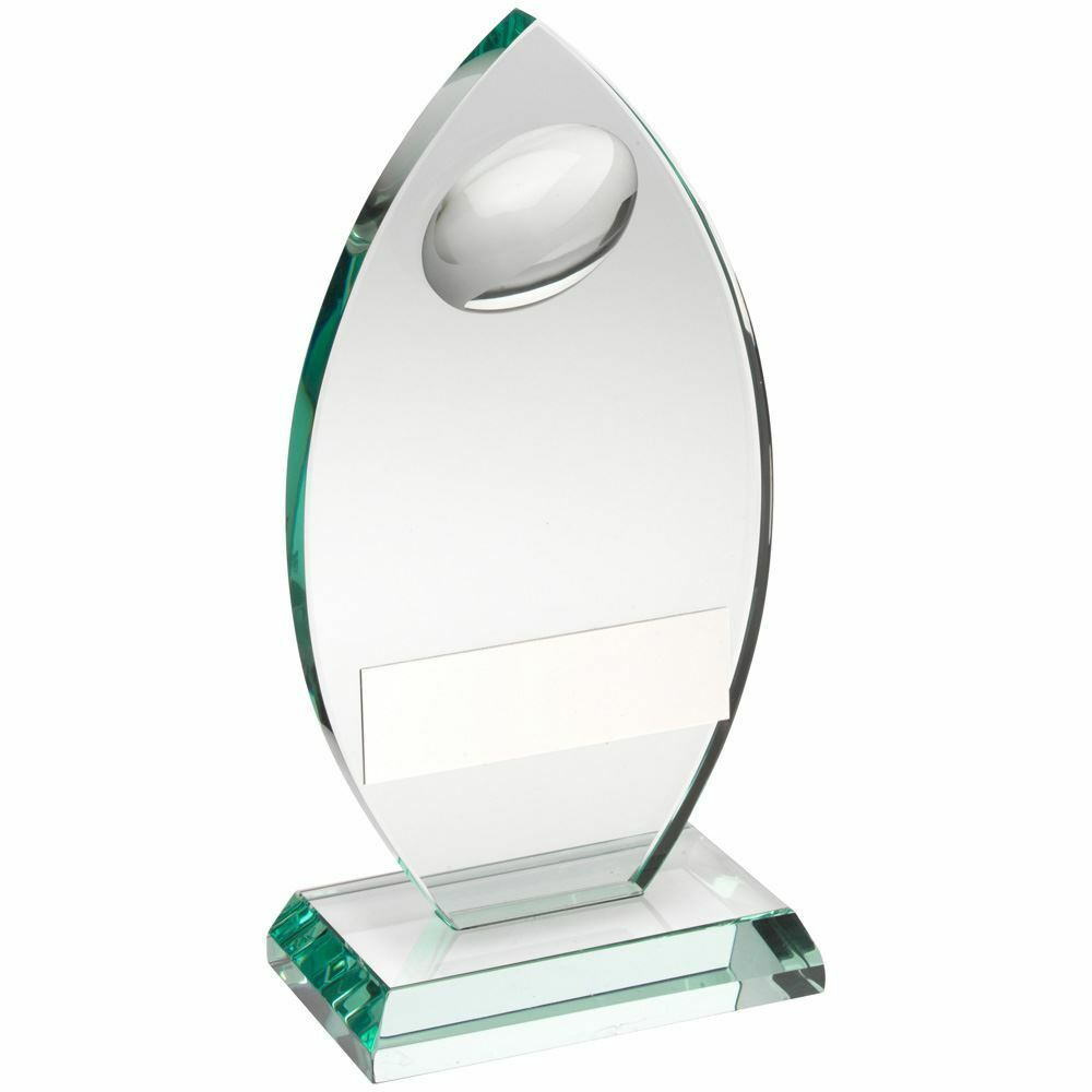 JADE GLASS PLAQUE WITH HALF RUGBY BALL TROPHY - 6.75in