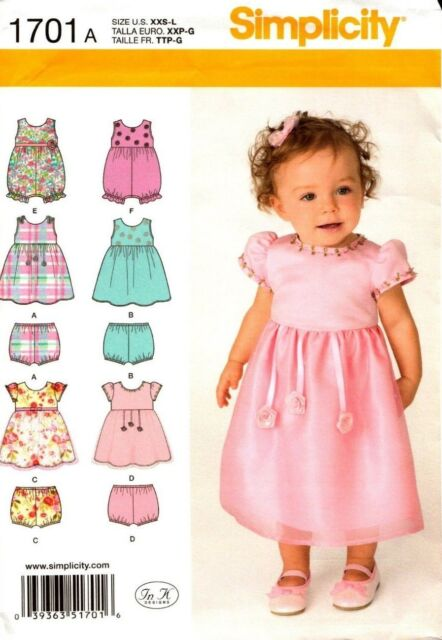 Simplicity Sewing Pattern 1701 Babies Dress, Romper and Panties XXS-L NEW