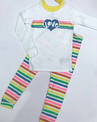 NEW BABY GAP Gap Kids Girls 2 Piece PJ Pajama Long Sleeve Baby Blue Rainbow 4T 4