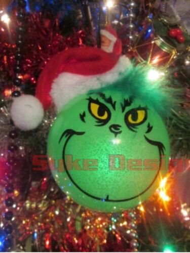 THE GRINCH GLOW IN THE DARK CHRISTMAS BAUBLE TREE DECORATION TOY