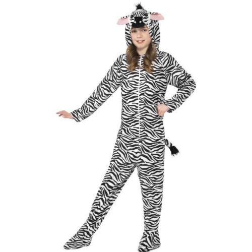 All In One With Hood Men Black /& White Medium Age 7-9 Smiffys Zebra Costume