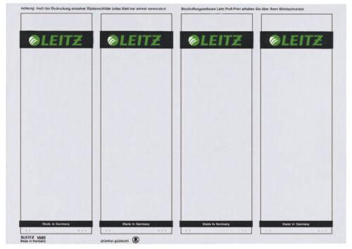 kurz breit auf A4 Papier 100 x Leitz 1685 PC-beschriftbare Rückenschilder