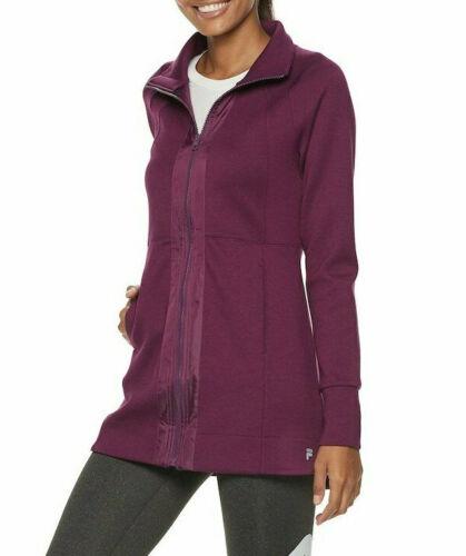 NWT FILA SPORT Women/'s Shirred Back Neck Plum Allure Jacket Sizes S /& M