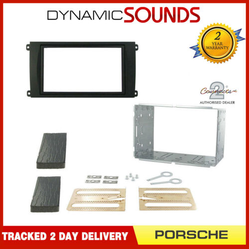 Black Double Din Car Stereo Fascia Fitting Kit For Porsche Cayenne 2002-2010