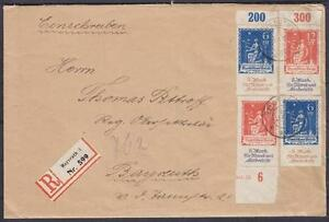 DR-Mi-Nr-233-234-MiF-HAN-OR-auf-Reco-Brief-gel-in-Bayreuth-06-01-1923-used