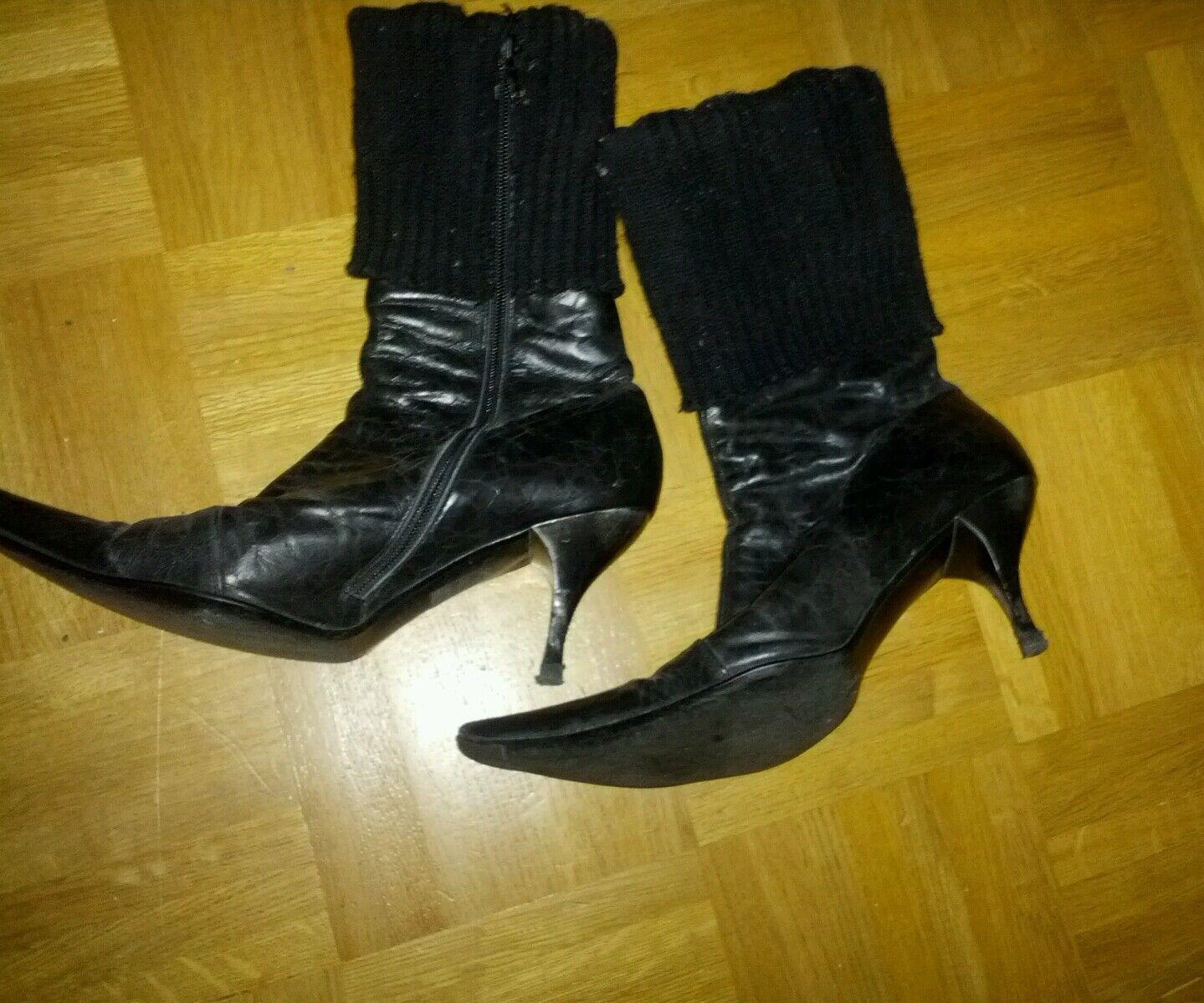 Buffalo, Stiefel, schwarz, Leder, Gr. 40, gebraucht