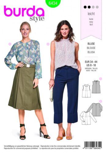 Burda Ladies Easy Sewing Pattern 6434 Feminine Blouses Burda-6434