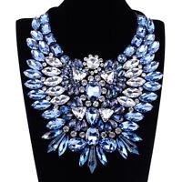 Fashion Jewelry Top Classic Luxury Blue Glass Gems Flowers Big Bib Necklace