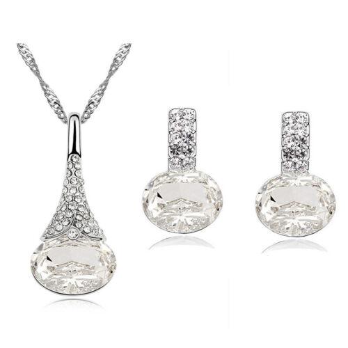 A32 Braut weiss Kristall funkelnd Zirkonia Schmuck Halskette Set Ohrringe