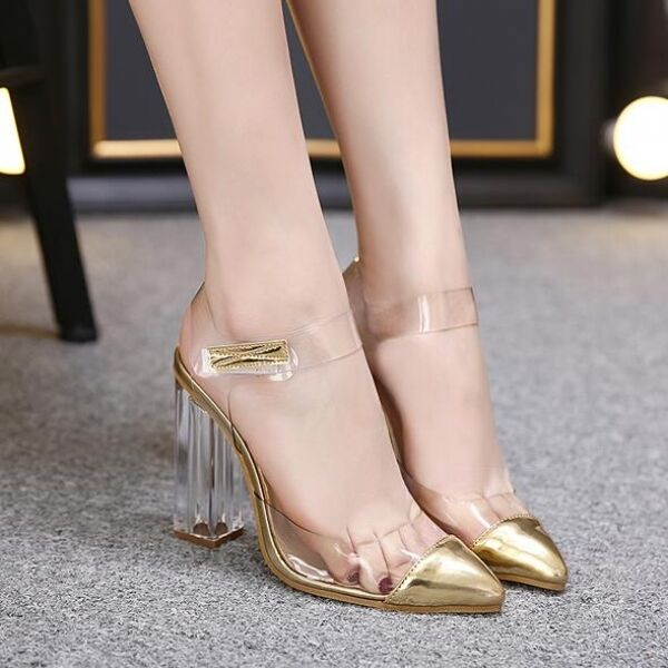 Women's sandals elegant heel square 12 gold transparent comfortable CW467
