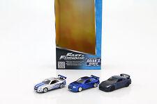 3 Car-Set Fast and Furious Brian's Nissan GT-R R35, Skyline GT-R R34 silber / bl