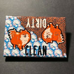 Pomeranian Clean Dirty Dishwasher Magnet