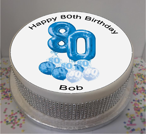 Image Is Loading Novelty Personalised 80th Birthday Blue Ballons 7 5