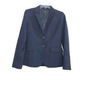 J. Crew 1035 Women's BI Stretch Navy Blue Blazer size 2 career business wool BUK
