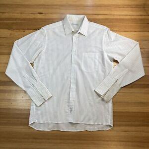 Vintage Herren Christian Dior weiß Knopfleiste Französisch Manschette Stripe Shirt Large