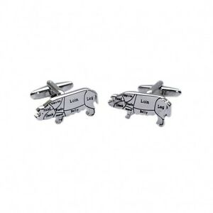 Image Is Loading Butchers Cuts Of Pork CUFFLINKS Pig Chef Cook