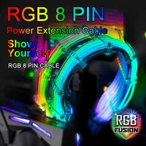 Details about 8 Pins Luminous Power Extension Cable DIY PC Addressable RGB  RBW ATX 200mm ARGB