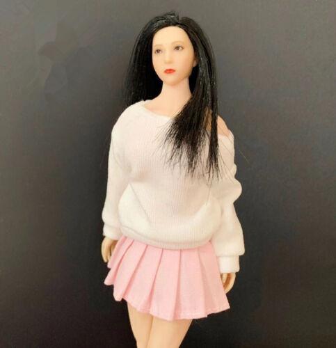 "1//12 Bianco Donna T-SHIRT E Rosa Gonna corta vestiti Set per 6/"" TB Figura Corpo"