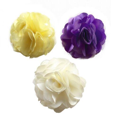 Hair Flower Fabric/&lace Headband Clip//brooch Purple Yellow /& Beige