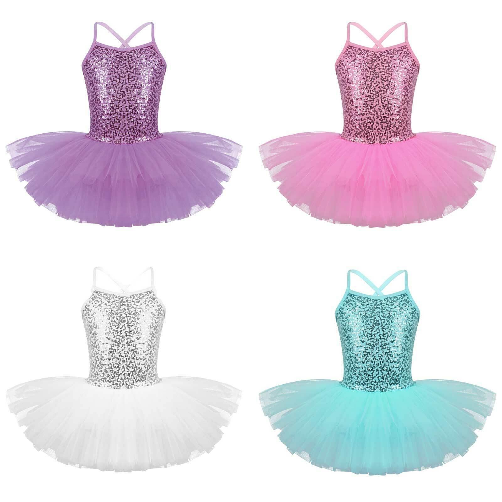 Girls Camisole Sequin Ballet Gymnastic Leotard Tutu Dress Ballerina Dancewear