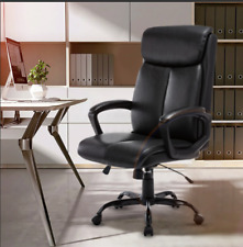 Office Chair High Back Pu Leather Chair Adjustable Headrest With Flip Up Arms