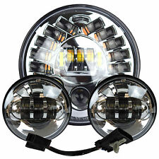 "7"" Chrome LED Projector Daymaker Headlight + Passing Lights For Harley Touring 2"
