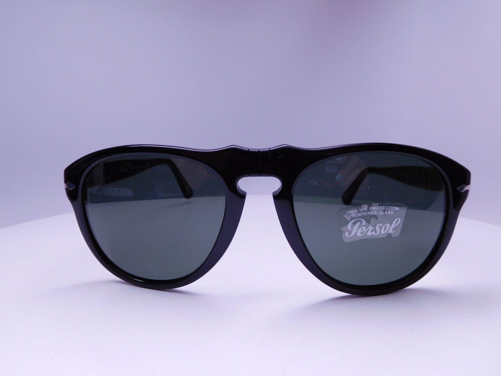 d10d3fc216 Authentic Persol 649 95 31 Black Aviator Sunglasses 54mm