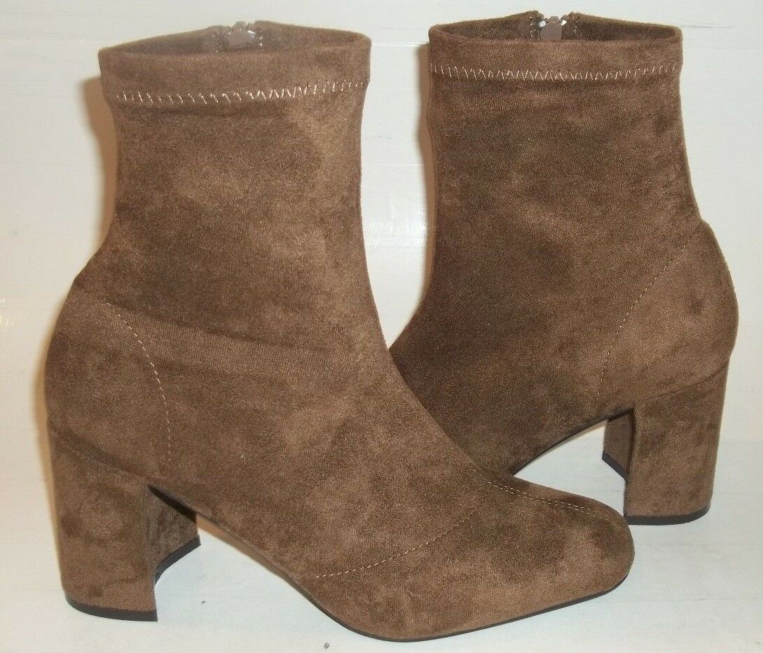 Jeffrey Campbell Womens Boots US 7.5 Brown Vegan Suede Zip Casual Ankle 09