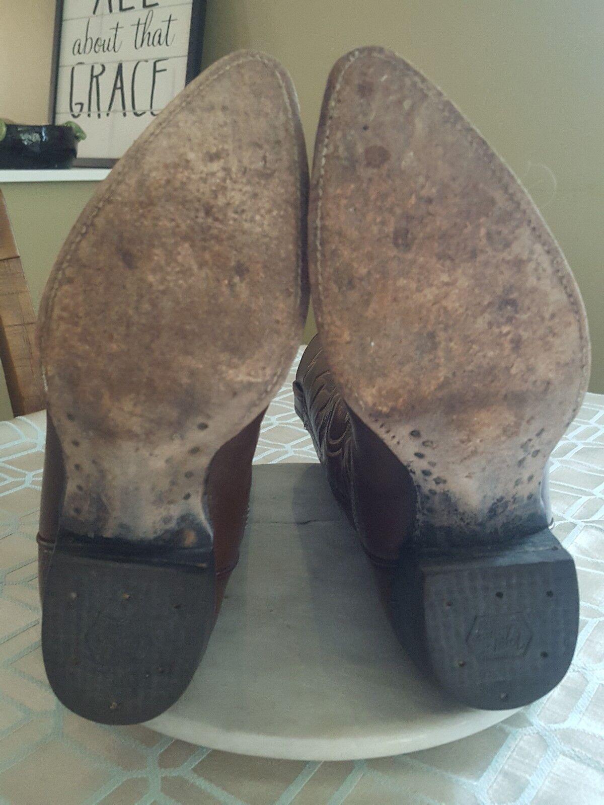 Vintage label tony lama nero label Vintage 6284 registrati gli stivali di pelle marrone uomini misura 6,5 b c8cace