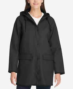 official shop purchase genuine purchase newest Details about Levi's Womens Long Hooded Slicker Rain Jacket Raincoat  Polyurethane Black Sz M
