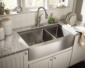 Zuhne Farmhouse Apron Double Bowl 16 Gauge Stainless Steel Kitchen ...