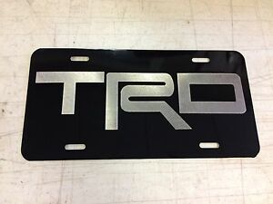 Toyota Trd Car Tag Diamond Etched On Black Aluminum