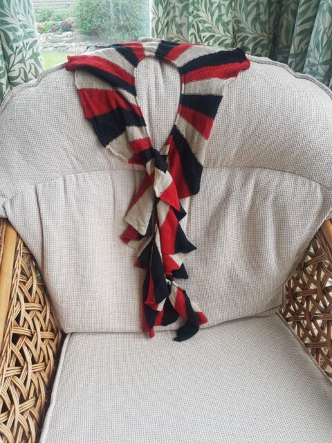 Marks and Spencer Black Beige and Red Cascade Scarf