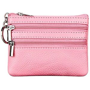 7a4f6d7360d4 Women s Genuine Leather Coin Purse Mini Pouch Change Wallet Key Ring ...