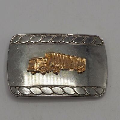 Bellissimo Fibbia Della Cintura Big Rig Tono Oro Camion Vintage