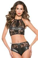 Crossdresser Sissy Black Wet Look & Lace Patchwork Bralette And Panty Size L