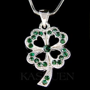 d2920c39990bb Details about ~Emerald 4 Four Leaf Clover~ made with Swarovski Crystal  Irish Shamrock Necklace