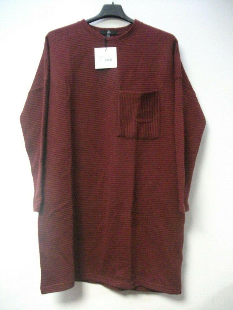Missguided Côtelé Poche Robe Pull-bordeaux Uk 4 Js002 Gg 12